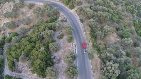 Above a Car with Trailer on a Provincial Road Footage