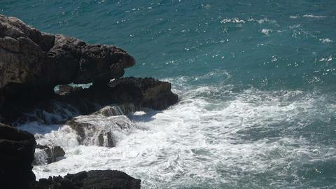 Waves Crashing on a Rocky Cape Footage