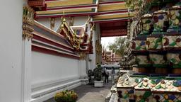 Thailand Bangkok 034 close up of ornaments in yard of wat pho temple Footage