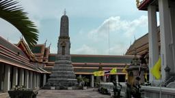 Thailand Bangkok 042 mighty pillar in yard of wat pho temple Footage