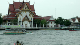 Thailand Bangkok 073 Chao Phraya River and grand building at the shore Footage
