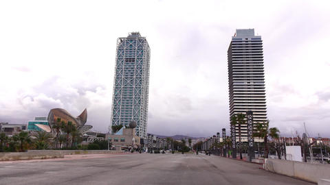 Torre Mapfre and Hotel Arts skyscrapers, The Fish sculpture, Port Olimpic Footage
