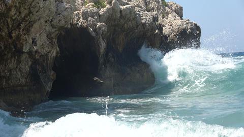 Sea Waves Crashing on the Rocks 1 Stock Video Footage
