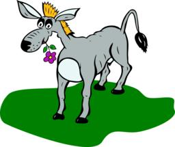painted gray donkey with flower in mouth stands on green lawn Vector