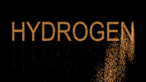 Element of periodic table HYDROGEN appears from the sand, then crumbles. Alpha Animation