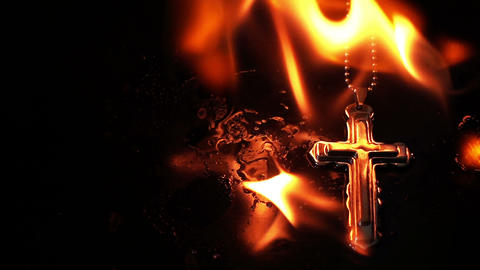 Christianity Religion Symbol Cross and Fire Burning Live Action