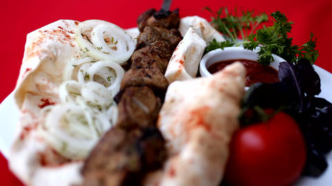freshly prepared barbecue skewer Image