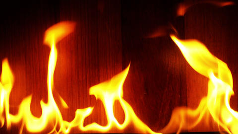 Fire Burning and Wooden Background Filmmaterial