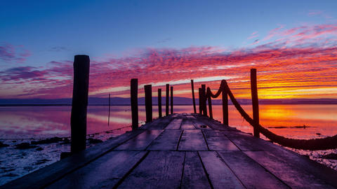 Sunrise of a wooden pier Footage