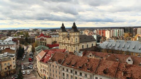 Ivano-Frankivsk from a bird's eye view with dark clouds up ビデオ