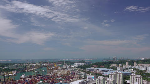 Aerial View to the Port of Singapore. Fast Motion Footage