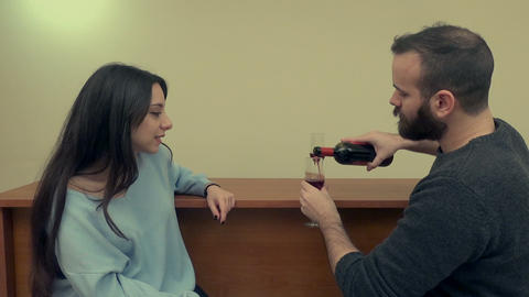 Couple Drinking Wine 2 Live Action