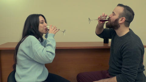 Couple Drinking Wine and Laughing 2 Live Action