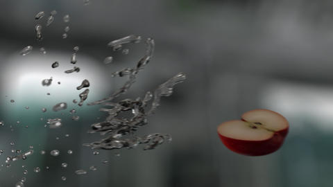 Water Splashing Sliced Apple (With Background) GIF