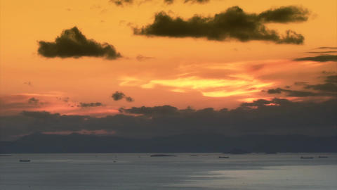 Ships crossing the sea under clouds - Time lapse 영상물