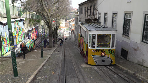 LISBON, circa 2017: Old tram elevator Gloria in the old town of Lisbon Portugal Live Action