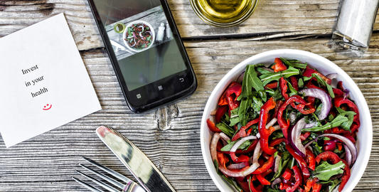 Vegetarian lunch. Salad of fresh vegetables, greens and red sweet peppers with Photo