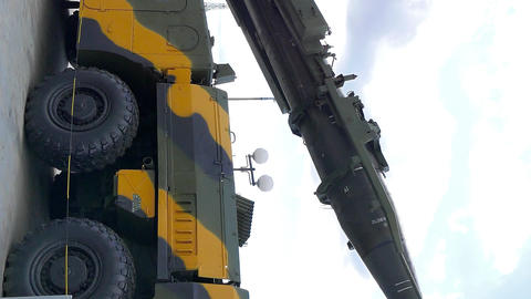 Vertical video. Self-loading launcher 'Elbrus'. (P-17 SS-1c Scud B) Live Action