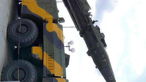 Vertical video. Self-loading launcher 'Elbrus'. (P-17 SS-1c Scud B) Footage