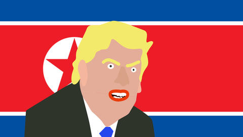 donald trump cartoon speaks in front of the north Korean flag Footage