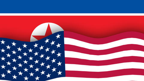 North Korean flag and American flag Footage