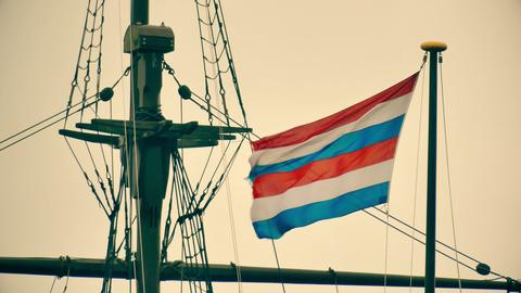 Waving Navy flag of the Secretary of Defence of the Netherlands on the mast of Fotografía