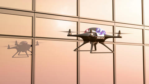 Morning Patrol, Police Quadcopter Flies along the Office Building Animation