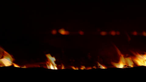 Fading Fire In Night Steppe Footage