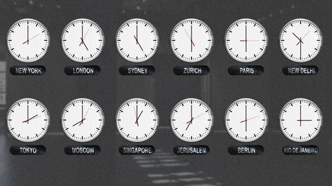 Accurate Clocks with Different Time Zones All over the World Footage