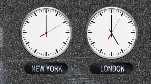 Accurate Clocks with a Different Time Zones for Each City Footage