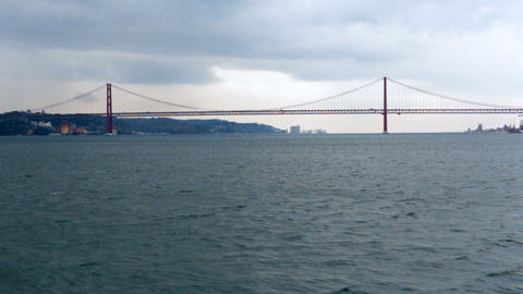 View from the boat on Golden Gates bridge at cloudy day Footage