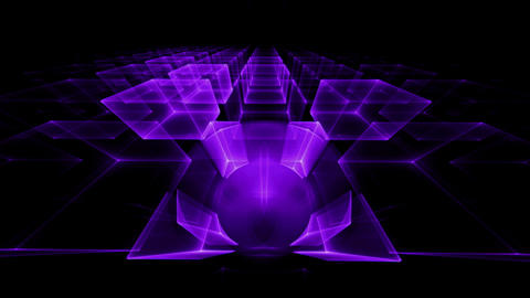 Ultra Violet Cubes Rotating, Perspective Animation