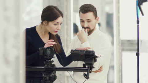 Producer and operator during working process Footage