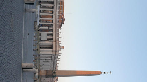 Vertical video. Piazza San Pietro, at sunrise. Vatican, Rome, Italy Footage