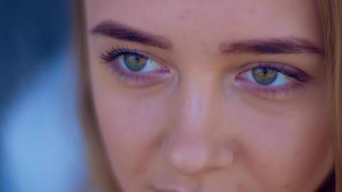 Extreme Close Up Face Teenage Girl, Expressive Eyes Archivo