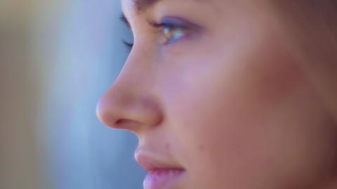 Close Up Of Beautiful Woman Face Portrait, beautiful... Stock Video Footage