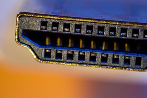 Macro closeup of HDMI cable connector フォト