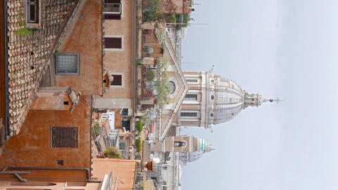 Vertical video. Dome of Rome, view from the Spanish Steps. Rome, Italy Live Action