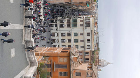 Vertical video. View from the Spanish Steps. Rome, Italy Footage