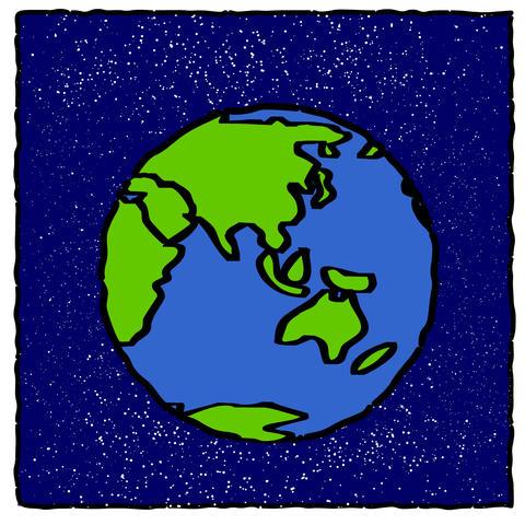 Cartoon Earth Coloured Animation