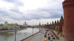 View of the Moscow River from the bridge. Cathedral of Christ. Moscow. Real Time Footage