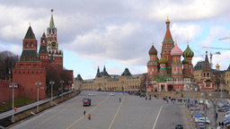 4k Kremlin and Cathedral of Vasily the Blessed on Red Square (St Basil´s Cathed Footage