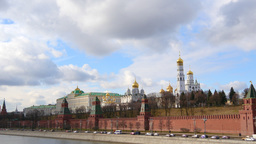 4k Red brick walls of famous Kremlin and Ivan Great Bell Tower in Moscow, Russia Footage