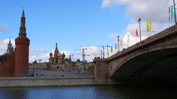 4k Moscow Kremlin and St. Basil's Cathedral at spring day. View from river side. Footage