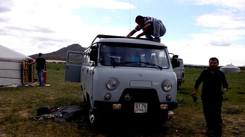 Fixing a Russian Van in the Gobi Stock Video Footage