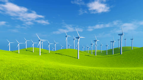 Wind turbines on green hills at sunny day Footage