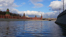 4k Kremlin. Moscow. Russia. River. Time Lapse. Sunny day Footage