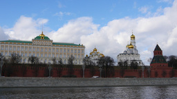 4k Walls Of Famous Kremlin And Ivan Great Bell Tower. Real Time. Spring. Sunny d Footage