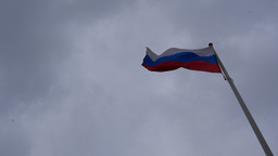 Flag Of Russia Waving In The Wind. Moscow, Kremlin, Russia 4K Footage