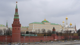 4k Russia, Moscow, Moscow Kremlin. Traffic. Time Lapse. Spring Footage